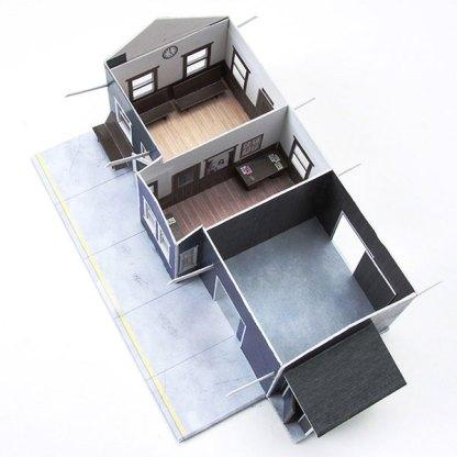 train depot blue paper model building railroad