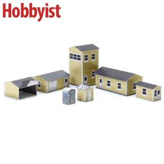 Yard buildings in wheat lapboard paper model kit