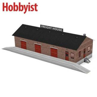 Freight house paper model kit in dark red brick