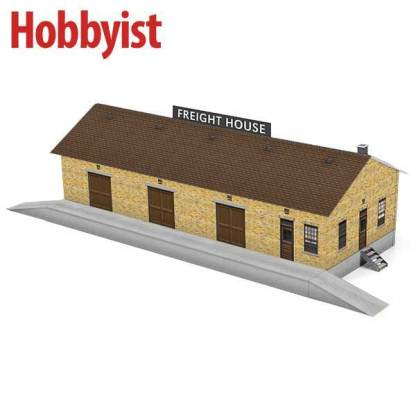freight house paper model kit in yellow brick