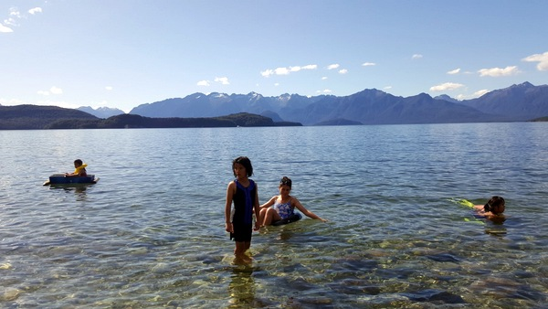 Swimming at Lake Manapouri