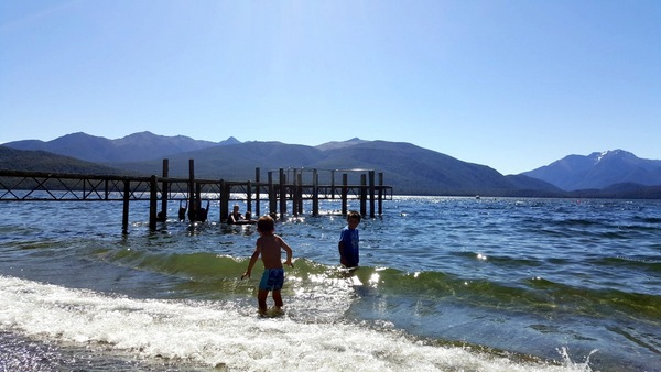 Swimming at Lake Te Anau