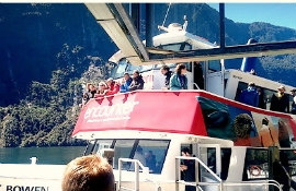 Milford Sound Small Boat Cruise Red in Harrison's Cove