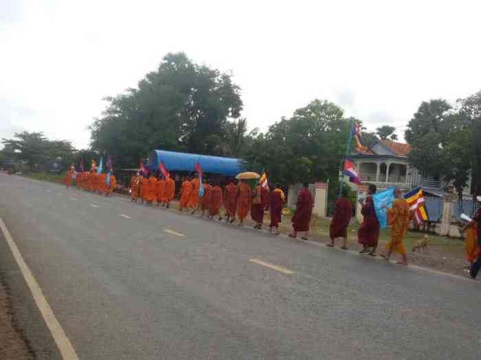 Monks marching along road 5