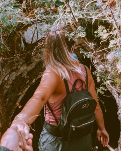 hiking into a cave