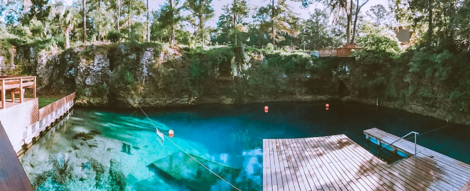 panorama view of a cavernous spring called blue grotto in florida