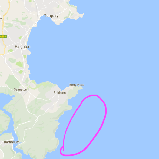 Map showing area to see dolphins near Torbay and Dartmouth