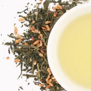 Genmaicha loose leaf green tea brewed tea