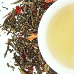 Wild Cherry Loose Leaf Green Tea brewed tea