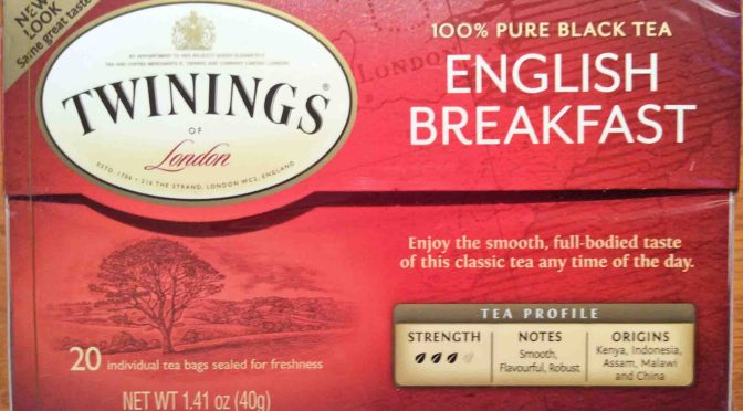 Rear view picture of a 20-count box of Twinings English Breakfast Tea.