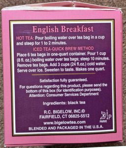 Bigelow English Breakfast Tea, 1.5-ounce box side, showing the brewing instructions.
