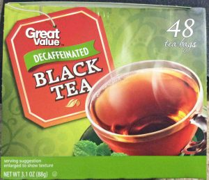 Picture of a 48-count box of Great Value Decaffeinated Black Tea, showing the box top, the lid.