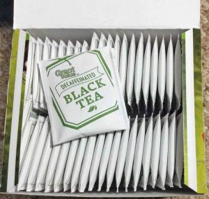 Picture of an open 48-count box of Great Value Decaf Black Tea, showing the individually wrapped teabags.