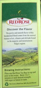 Picture of the Brewing Instructions as displayed on a box of Organic India Green Tea from Red Rose, 20 Count Box