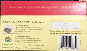 Picture of the bottom of a 20-count box of Celestial Seasonings Pure Peppermint Herbal Tea.