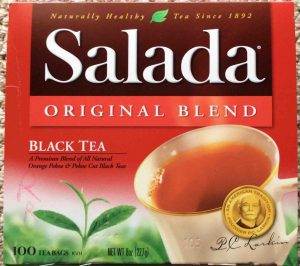 Picture of an 8-ounce 100-teabag box of Salada Black Tea.
