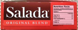 Picture of the Nutrition Facts and Ingredients lable on a box of Salada Orange Pekoe Black Tea.