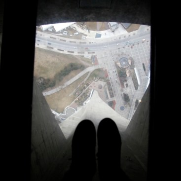 Glass floorl view of Toronto seen from the CN Tower, Ontario, Toronto, Canada