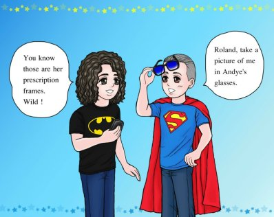 Personalised Photos by Manami. Here's one she did of Tears For Fears as SuperHeroes 2011 based on a funny day in Vegas and Andye's glasses