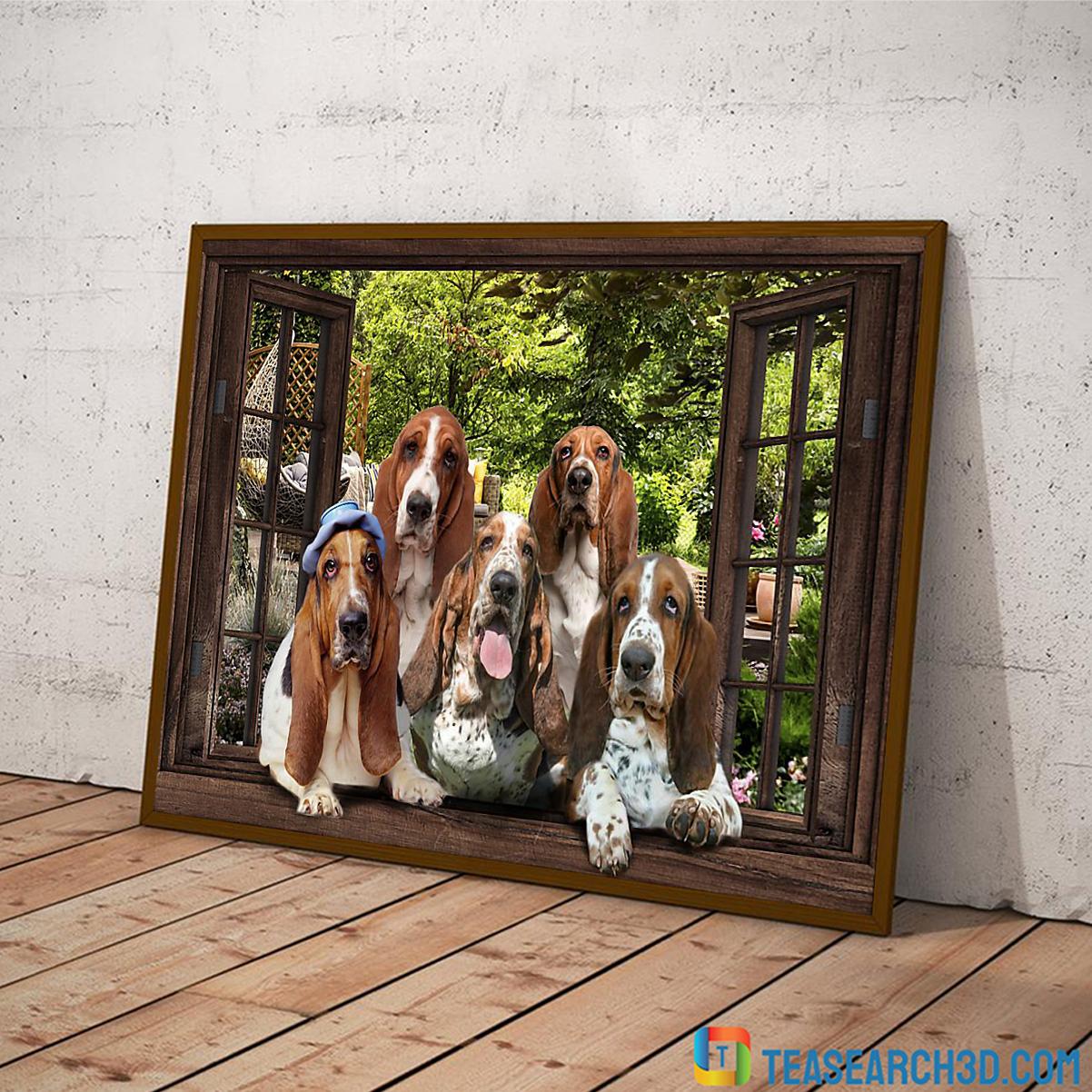 basset hound window view poster