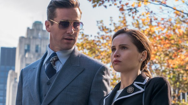 (l to r.) Armie Hammer as Marty Ginsburg and Felicity Jones as Ruth Bader Ginsburg star in Mimi Leder's ON THE BASIS OF SEX, a Focus Features release.