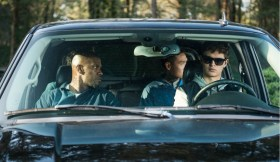 Baby (ANSEL ELGORT, front right), Bats (JAMIE FOXX, front left), JD (LANNY JOON, back right), Eddie (FLEA BALZARY, back left) wait in the car in TriStar Pictures' BABY DRIVER.