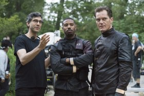 Fahrenheit 451 - Behind the scenes - From left to right: Ramin Bahrani, Michael B. Jordan, and Michael Shannon