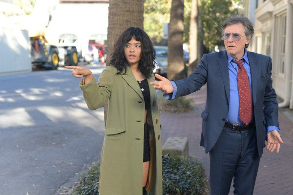 Gabriel Bryne and Kiersey Clemons in the movie An LA Minute