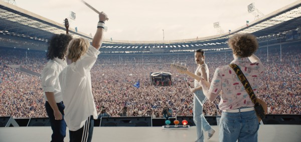 Gwilym Lee (Brian May), Ben Hardy (Roger Taylor), Rami Malek (Freddie Mercury), and Joe Mazzello (John Deacon) star in Twentieth Century Fox's BOHEMIAN RHAPSODY