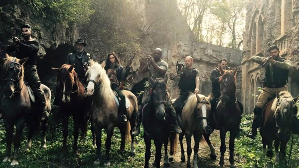 Marina Kinski, Ilker Kurt, Maurice Nash, Jerry Kwarteng, Maksim Kolesnichenko, And Ender Atac in the movie The Glorious Seven