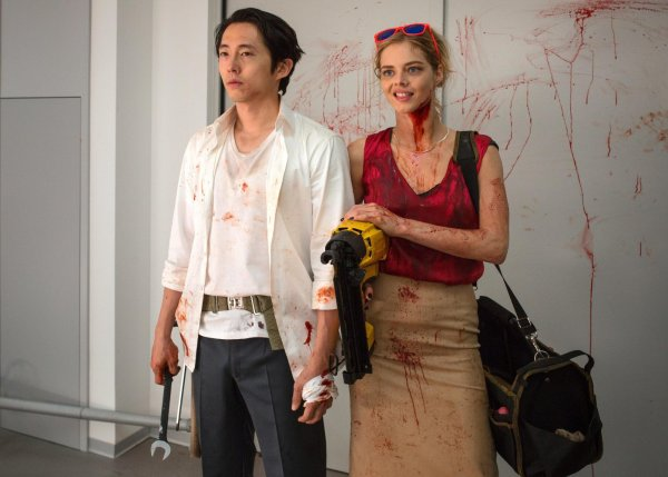 Mayhem Movie - Steven Yeun and Samara Weaving