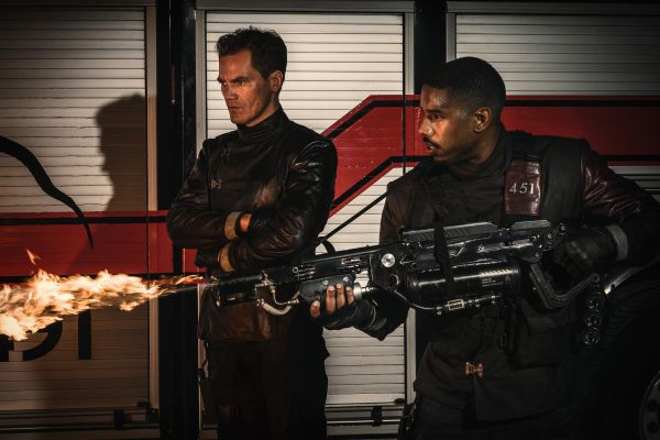 Michael Shannon and Michael B. Jordan in HBO's Fahrenheit 451