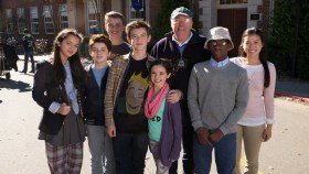 Middle School - Film Cast - Isabela Moner, left, Thomas Barbusca, Jacob Hopkins, Griffin Gluck, Alexa Nisenson, author James Patterson, Luke Christopher Hardeman and Jessica