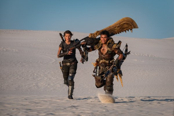 Milla Jovovich And Tony Jaa in the movie Monster Hunter (2019) - The film tells the story of two heroes who come from different worlds to defeat a shared danger, the powerful, deadly and magnificent monsters that inhabit the land.