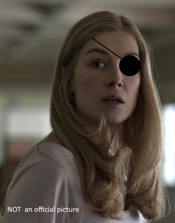 Rosamund Pike With A Fake Eyepatch