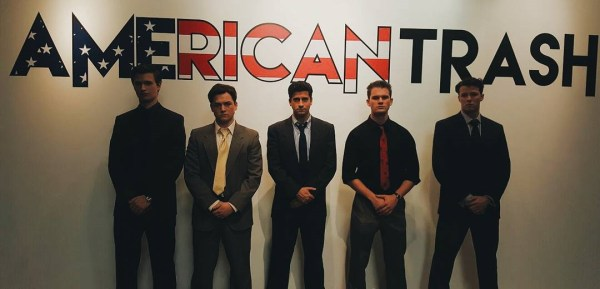 Ryan Rottman, Jeremy Irvine, Ansel Elgort, Taron Egerton, and Thomas Cocquerel in the movie Billionaire Boys Club