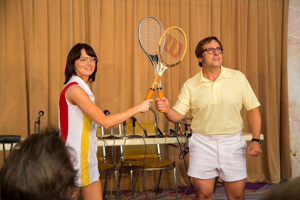 Steve Carell And Emma Stone in the movie Battle Of The Sexes