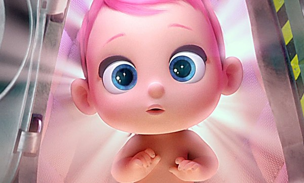 Storks Movie - Cute baby girl with blue eyes and pink hair!