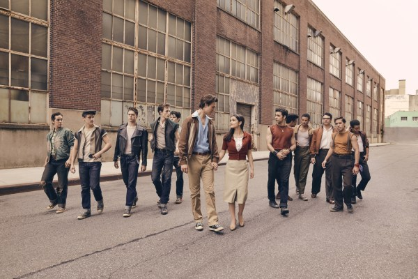 West Side Story Movie First Look (2020) - Pictured left to right are: Jets members Anybodys (Ezra Menas), Mouthpiece (Ben Cook), Action (Sean Harrison Jones); Jets leader Riff (Mike Faist); Baby John (Patrick Higgins); Tony (Ansel Elgort) and Maria (Rachel Zegler); Maria's brother and Sharks leader Bernardo (David Alvarez); and Sharks members Quique (Julius Anthony Rubio), Chago (Ricardo Zayas), Chino (Josh Andrés Rivera), Braulio (Sebastian Serra) and Pipo (Carlos Sánchez Falú).
