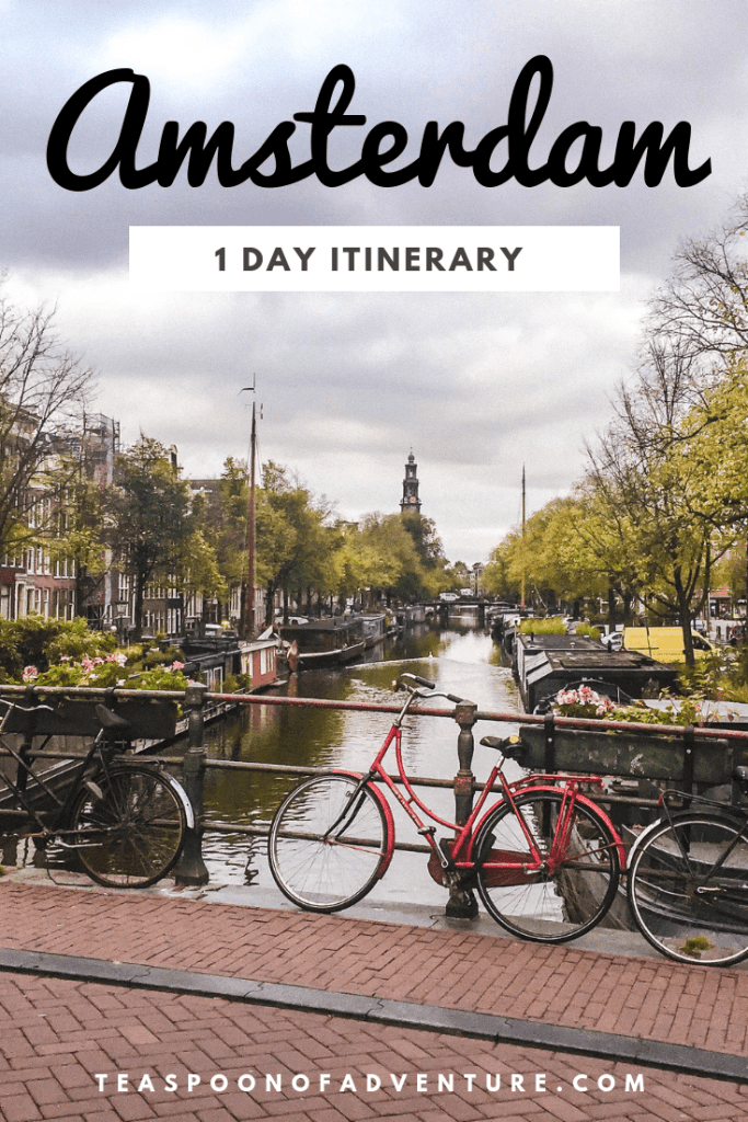 Amsterdam is one of the coolest cities in the world with its skinny houses, canals, bikes and pancakes. Here's exactly how to spend one day in Amsterdam and make the most of your time in this charming Dutch city! #amsterdam #traveltips #travel