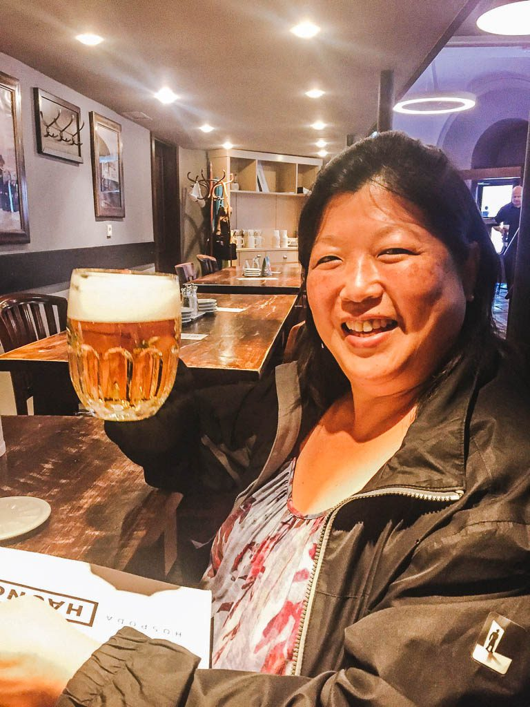 Mom enjoying a Czech beer