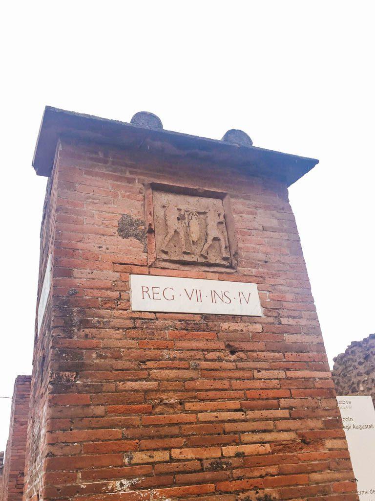 Road sign in Pompeii