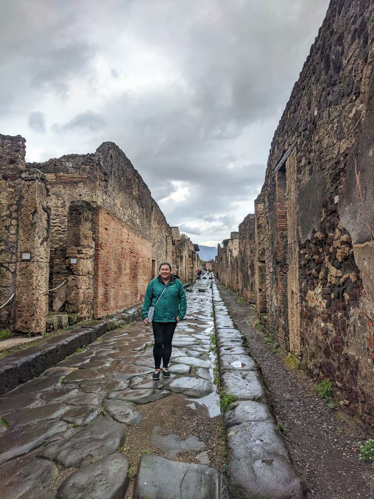 Riana on the streets of Pompeii