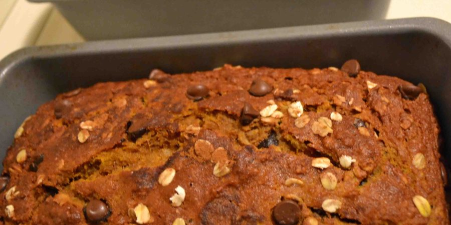 This pumpkin oatmeal bread (lightened up with oatmeal and whole wheat flour) is delicious and easy to make!