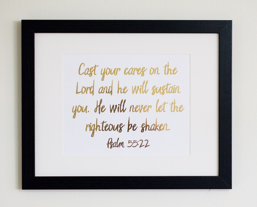 Bible verse gold foil art print