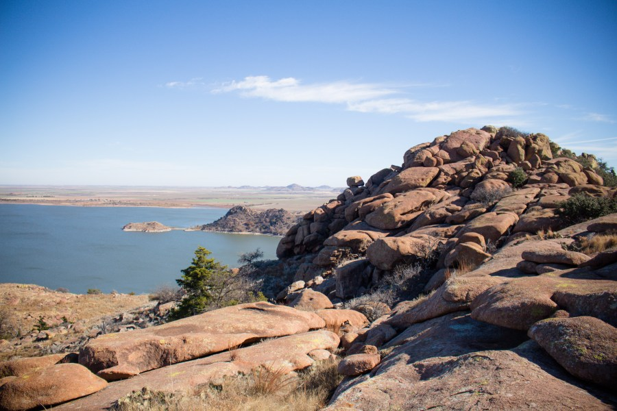 Quartz Mountain's New Horizon trail may not be much of a trail, but if you're up for scrambling up the rocks it ends with a fantastic view! Southwest Oklahoma | Teaspoon of Nose