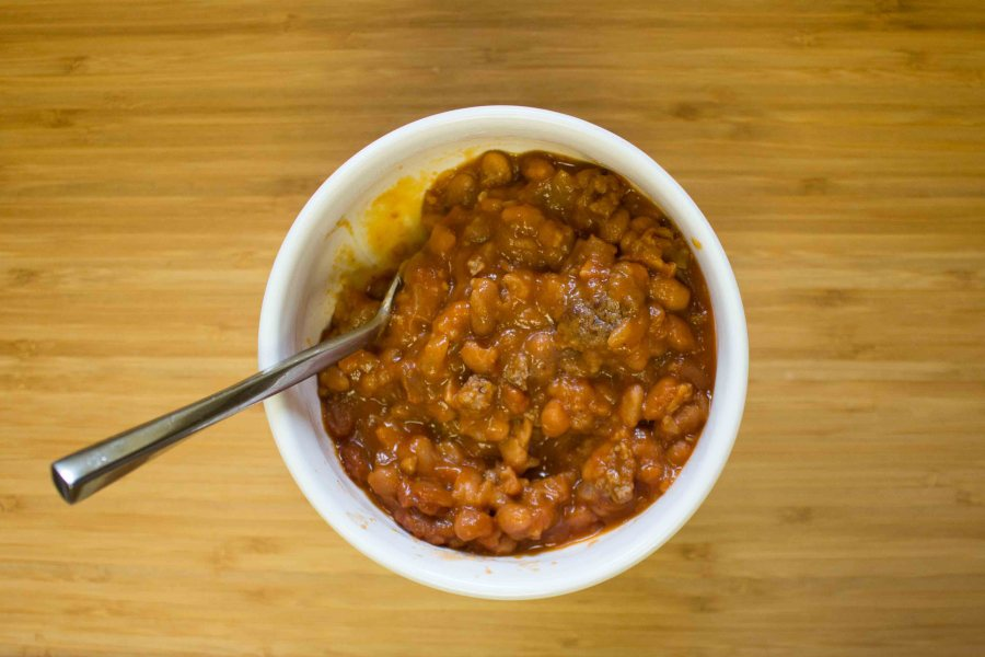 Hearty, filling, and easy: baked bean casserole!   Teaspoon of Nose