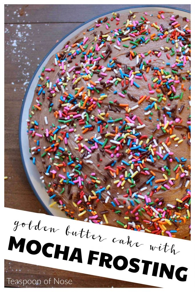 Butter cake with mocha frosting - better than the box! | Teaspoon of Nose