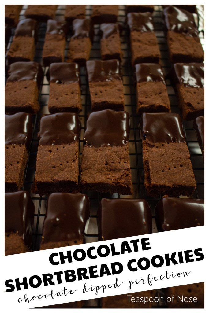 Chocolate shortbread cookies are the perfect balance of sweet & chocolate! Whether you need something for that Christmas cookie exchange or just something to go with a cup of coffee!   Teaspoon of Nose