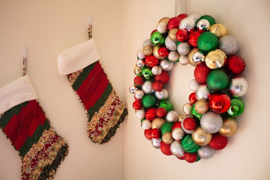 This DIY ornament wreath is a fantastic little DIY that you can put together in an hour for an elegant bit of Christmas decor!